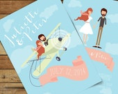 Flying Wedding Invitation Suite /// Illustrated Couples Portrait /// Illustrated Family Portrait