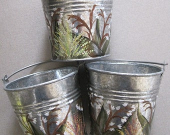 Hand Painted Small Galvanized Buckets/2 available