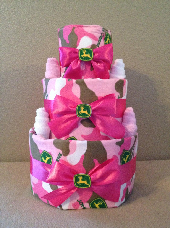 Pink Camo John Deere Baby Girl Diaper Cake by ...