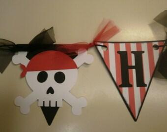 Red Striped Pirate Birthday Banner