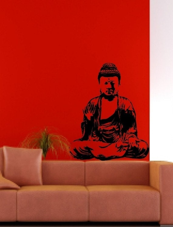 Buddha wall mural decal sticker home india meditation for Buddha wall mural