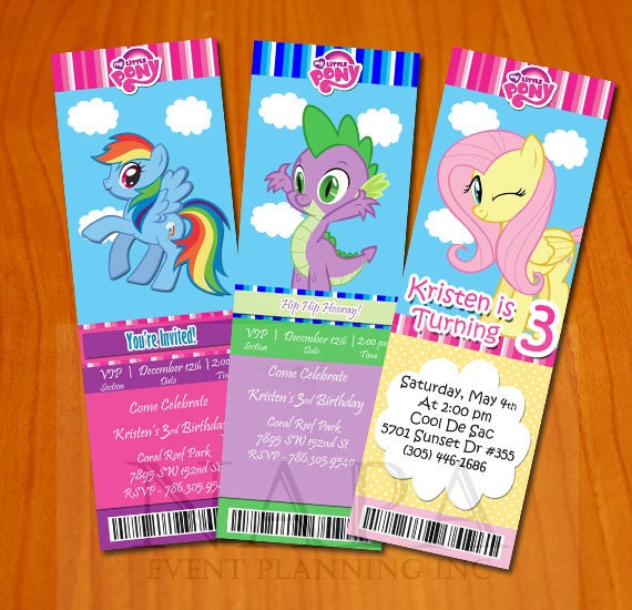 Items similar to My Little Pony Ticket Style Invitation Digital File DIY on Etsy