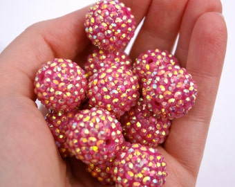 Chunky Gemstone Bead-Hot Pink Set of 13