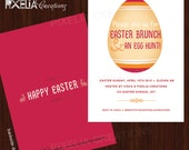 Modern Easter Brunch and an Easter egg hunt invitations. Printable Easter brunch invitations. Code:MEI