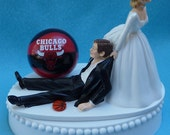 Wedding Cake Topper Chicago Bulls Basketball Themed w/ Bridal Garter Hoops Fans Bride Groom Sports Fanatics Sporty Ball Humorous Funny Top