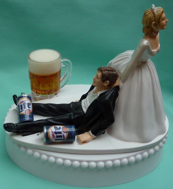 Wedding Cake Topper Miller Lite Beer Drinking Mug Cans Drinker