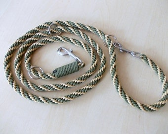 dog leash, hand-plaited, olive-green and beige