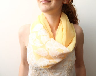 Yellow Infinity Scarf with Lace, Summer Scarf, Lightweight Chiffon Scarf