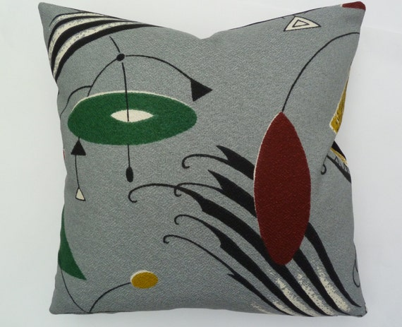 Barkcloth reproduction mid century modern accent pillow for Mid century reproduction