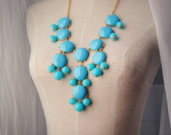 Bubble Necklace J. Crew Style Inspired Statement Necklace Blue Greece Aegean Sea