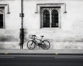 Oxford Photography 8x10 Fine Art Print - Black and White Bicycle Photography, Travel Photo - Yellow Accents, Black and White Photography - lixhewettphotography