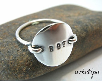 Personalized Handmade Ring of sterling silver (choose your alphabet letters). Sterling Silver Custom Ring..