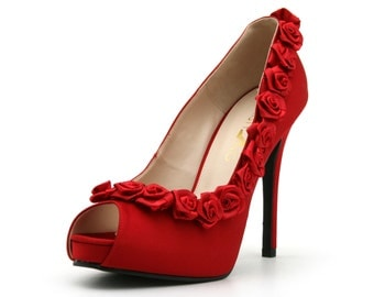 Red Rose High Heel Shoe.