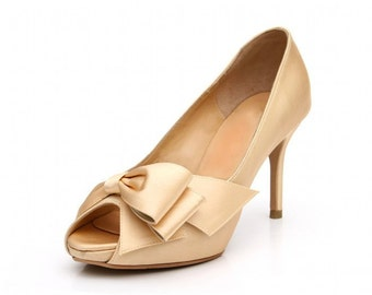 Golden Bronze Weding Pump with Bow. Champagne Gold Wedding Shoe with Bow. Champagne Gold Wedding Shoe