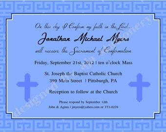 Confirmation Invitation or Announcment Boy Malibu Blue Printed QTY-15 (5x7)