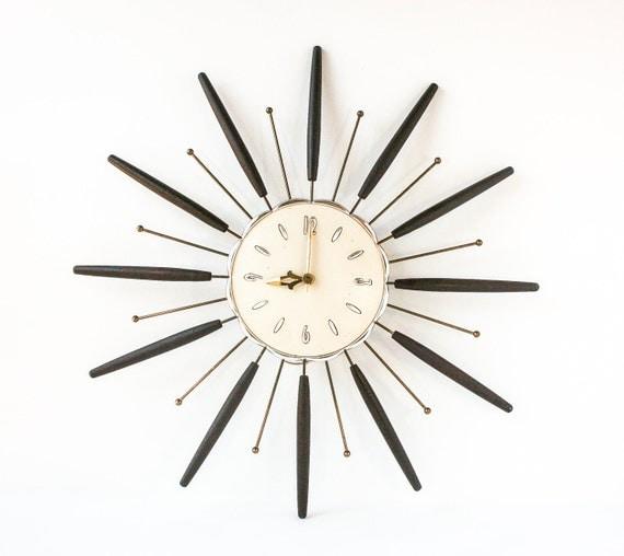 Vintage Starburst Wall Clock Retro Mid Century By