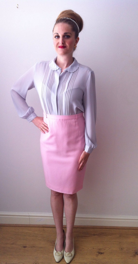 escada pastel pink pencil skirt uk10 eu38 us6 by