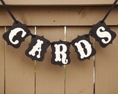 CARDS banner for Weddings, Wedding Decor, Card Table Sign, Card Banner, Cards Sign | Black & Cream