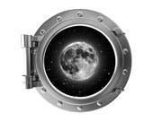 "12"" Portscape Instant Space Porthole Window Moon 1 Wall Decal Sticker Mural Vinyl Graphic Home Kids Game Room Art Decor NEW"