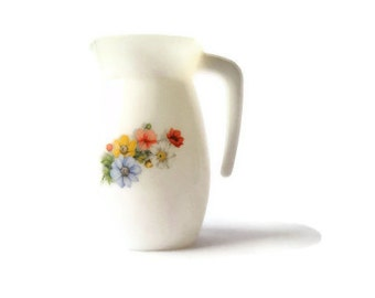 White Arcopal France flower pitcher -- vintage ceramic tableware  -- French kitchen decor
