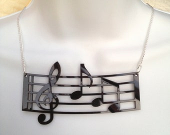 symphony black perspex music note bar pendant