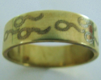 Sperm Fertility Ring Engraved Wedding Band 7mm Wide 14K Gold