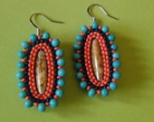 Turquoise, Flamingo, and Blue Beaded Oval Earrings