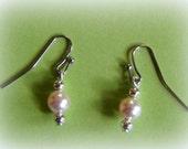 Delicate Pink Swarovski Pearl Earrings