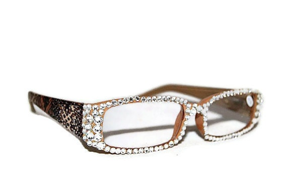 Glasses Frames With Bling : Stunning Swarovski Style Crystal Reading by AVCustomDesigns