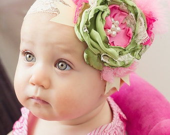 Lime Green and Pink Headband by Caprice Colette