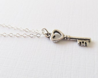 Sterling Silver Key Necklace, Sterling Silver Necklace, Gift for Her