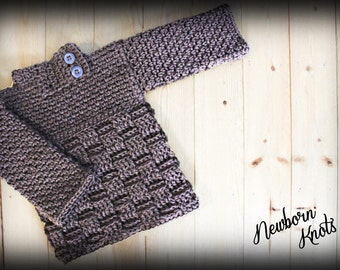 CROCHET PATTERN for Boys or Girls Baby Sweater with Basket Weave . Pattern number 008. Instant Download