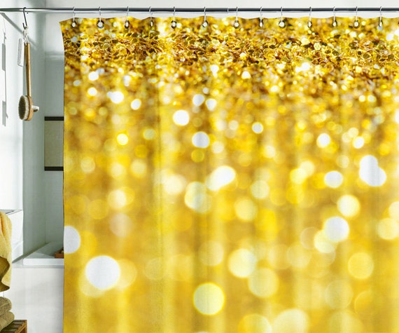 Bath Shower Curtain Bling Glitter Sparks Shimmer Gold By Wallnit