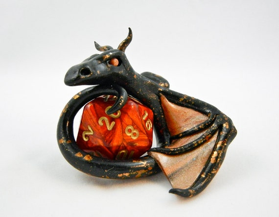 Black Mica Dice Dragon with Red Scarab D20