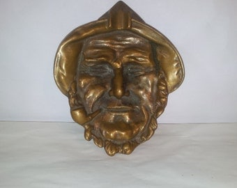 Fisherman with Pipe Brass Ashtray