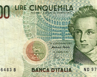 Banknote 5000 Lire Vincenzo Bellini