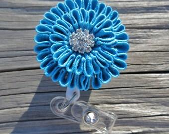 ID Badge Holder Retractable ID Reel Blue Rick Rack Flower