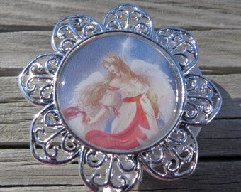 Retractable ID Badge Holder  Angels' Digital Images  in Pendant tray with Charm and Coordinating Beads