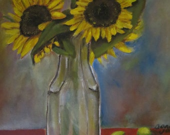Original Oil Painting Of Sunflowers On A Table