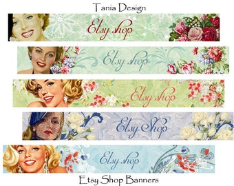 ETSY SHOP BANNERS -  Lovely Ladies - Multipurpose digital images - Printable Download - Digital Collage Sheets -