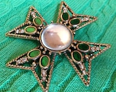 Funky 1970s Maltese Cross brooch - RetrouverBiz