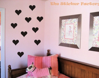 36 3 inch Hearts Vinyl Decal Wall Art Decor Stickers