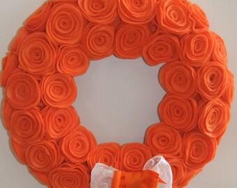 """Orange 12""""  rosette wreath"""