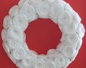 """White 12"""" rosette wreath"""