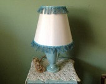 Vintage Bluegreen Lamp with Lampshade