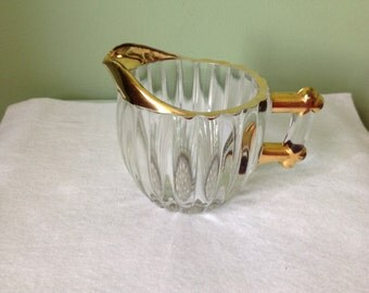 Vintage Glass Creamer Trimmed in Gold