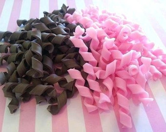 30mm Chocolate Shavings Clay Cabochon 8 pcs