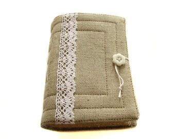 Gray organic linen handmade journal, diary, sketchbook, 240 pages, beige craft paper
