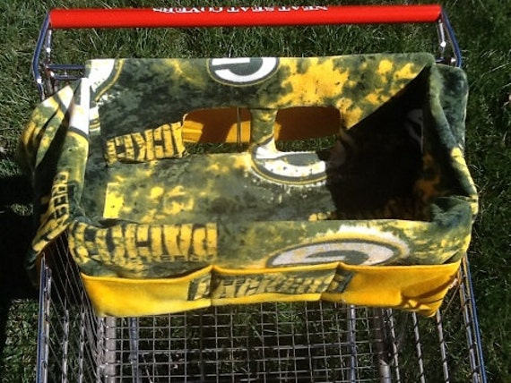 shopping cart seat cover green bay packers with yellow lining. Black Bedroom Furniture Sets. Home Design Ideas