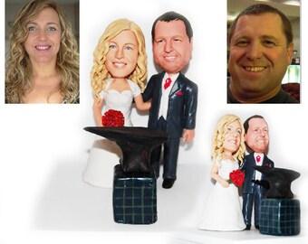 Personalised wedding cake topper  - Blacksmith  wedding (Free shipping)